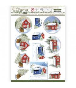 FEUILLE 3D CHRISTMAS COTTAGE - SB10592