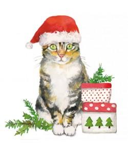 SERVIETTE COCKTAIL CHRISTMAS KITTY