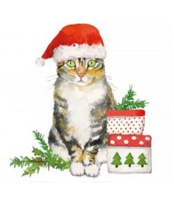 SERVIETTE CHRISTMAS KITTY