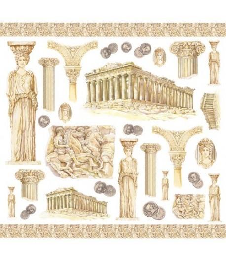 SERVIETTE PAPIER DE RIZ  GRECE ANCIENNE  50 X 50 CM