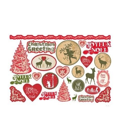 Papier De Riz Décoration papier de riz noel rouge et vert 33 x 48 cm - doigts de fées