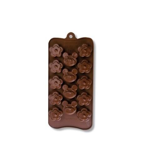 MOULE SILICONE CHOCOLAT - OURSONS ET FLEURS