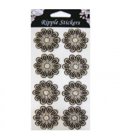 STICKERS 3D FLEURS SEPIA