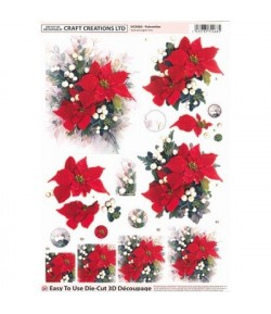 FEUILLE 3D POINSETTIAS DCD583