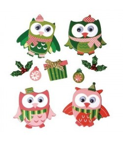STICKERS DECO CHOUETTES NOEL