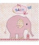 SERVIETTE BABY ELEPHANT ROSE
