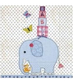 SERVIETTE BABY ELEPHANT BLEU