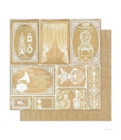 PAPIER ETIQUETTES VINTAGE 30 X 30 CM - STAMPERIA SBB376