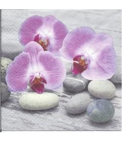 SERVIETTE ORCHIDEES ROSES