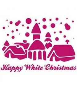 POCHOIR HAPPY WHITE CHRISTMAS 15 X 20 CM