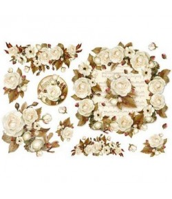 PAPIER DE RIZ WINTER WOOD ROSES 33 X 48